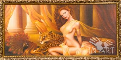 Картина Рыжая девушка и леопард К - 43