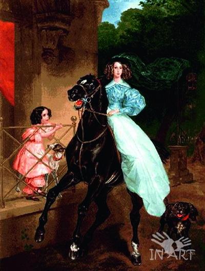 Гобеленовая картина Всадница  - фото