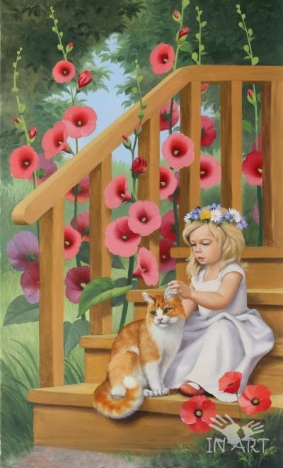 Картина Девочка с котом SI-594 G - фото