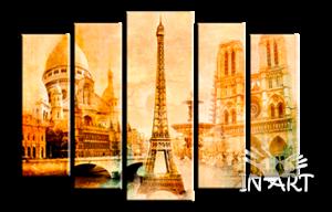 Модульная картина Париж g1 из 5 частей