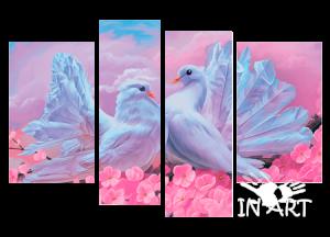 Модульная картина Голуби № К 762 из 4 частей